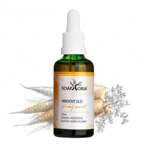 Mrkvový olej upokojí poškodenú, podráždenú a problematickú pokožku, prírodná kozmetika spomaľuje starnutie pokožky, je skvelý aktivátor opálenia, do solaria