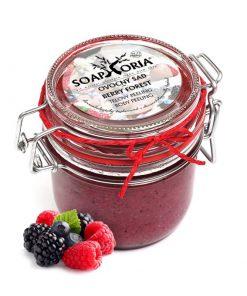 Peeling Ovocný sad, prírodný olejový peeling s ovocím a soľou - slovenská prírodná kozmetika na telo, na suchú pokožku. Obsahuje ovocie, bambucké maslo