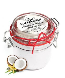 Telové suflé Mliečne potešenie, našľahané telové maslo, prírodný krém - slovenská prírodná kozmetika s pravou vanilkou a mliečnymi proteínmi, kokosovým