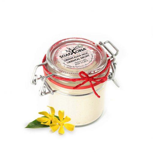 Telové suflé Orientálna noc - prírodná kozmetika bez chémie a parabénov s ylan-ylang, ružovým a santalovým drevom, 100% organické, Pre všetky typy pokožky