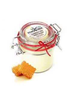 Telové suflé Sladučký med - prírodná kozmetika bez parabénov s pravým medom a vanilkou pre suchú a namáhanú pokožku na tvár i telo. Bojuje proti únave