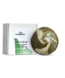 Tuhý šampón BalancoShamp na mastné vlasy, s panthenolom a ílom, prírodné mydlo na vlasy s ricínovým olejom a zeleným ílom s bylinkami.