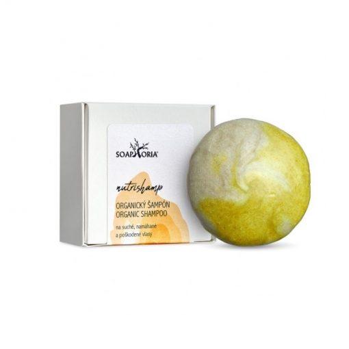 Tuhý šampón NutriShamp suché vlasy s panthenolom. 100% prírodné mydlo na vlasy suché a poškodené. Obsahuje makadamiový, jojobový olej