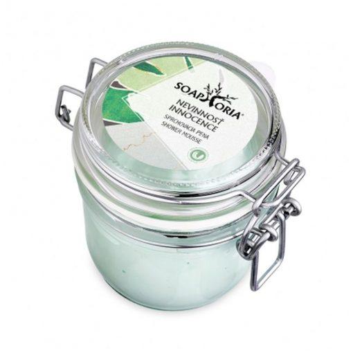 Prírodná sprchovacia pena Nevinnosť, 100% čisto prírodná kozmetika na suchú a podráždenú pokožku, obsahuje hroznový, kokosový a marhuľový olej, pH: 5,5.