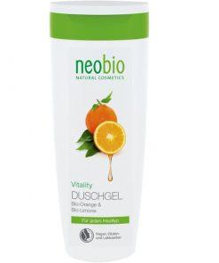Neobio sprchový gél Vitality, lacná BIO prírodná kozmetika na telo s BIO citrusmi pre ženy i mužov so sviežou vôňou citrusov, osvieži