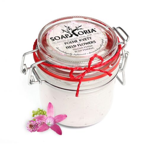 Poľné kvety prírodná telová mana - prírodná kozmetika pre hydratáciu suchej a citlivej pokožky - vôňa poľných kvetov na pokožke, BIO kozmetika na telo