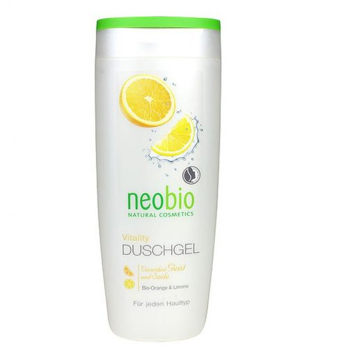 Neobio sprchový gél Vitality - prírodná kozmetika na telo s BIO pomarančom a citrónom, lacná BIOkozmetika