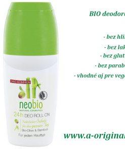 24h deo roll-on BIO oliva a bambus - prírodný deodorant bez parabénov a hliníka v akejkoľvek podobe s 24-hodinovou ochranou pre každý typ pokožky, BIO kozmetika proti poteniu