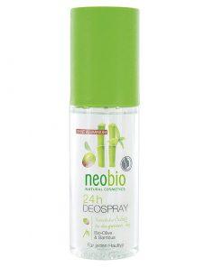 Neobio 24h deo spray BIO oliva a bambus - prírodný deodorant bez parabénov a hliníka v akejkoľvek podobe s 24 - hodinovou ochranou pre každý typ pokožky