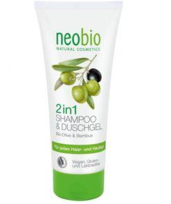 Neobio 2v1 sprchový gél a šampón, lacná prírodná kozmetika na telo a vlasy pre ženy i mužov, s aloe vera a olivovým olejom. BIO kozmetika pre celú rodinu