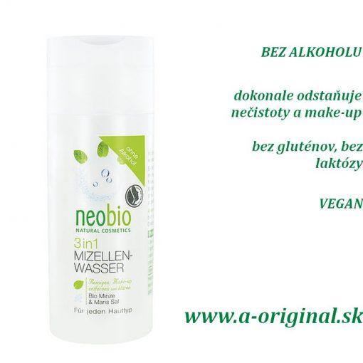 Neobio Micelárna voda 3 v 1 citlivá pleť s morskou soľou a BIO mätou bez alkoholu, bez laktózy, gluténov, vhodné aj pre vegánov.