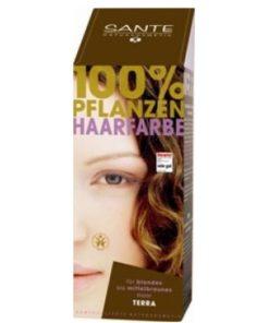 Prášková farba na vlasy terracota SANTE- prírodná farba na vlasy, ktorá vlasy neničí, ale vyživuje, farbí a chráni. Farba vydrží na vlasoch 4-6 týždňov, podľa toho, ako často si vlasy umývate. Prášková farba na vlasy terakotová je vhodná pre blond až hnedé vlasy.