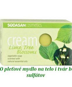 BIO pleťové mydlo Cream Lipa na tvár a telo s obsahom bambuckého masla, bez sulfátov a farbív a konzervačných látok, prirodzená vôňa čistých éterických olejov