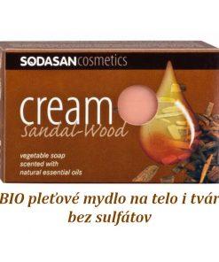 BIO pleťové mydlo Santalové drevo krémové na tvár a telo s obsahom bambuckého masla, bez sulfátov a farbív a konzervačných látok, prirodzená vôňa éterických olejov