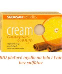 BIO pleťové mydlo Škorica Pomaranč krémové na tvár a telo s obsahom bambuckého masla, bez sulfátov a farbív a konzervačných látok a sulfátov, prirodzená vôňa éterických olejov