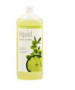 BIO tekuté mydlo Citrón oliva, vyrobené z BIO mydla, vhodné pre celú rodinu, bez farbív a sulfátov s prírodnou vôňou éterických olejov. BIO kozmetika na ruky