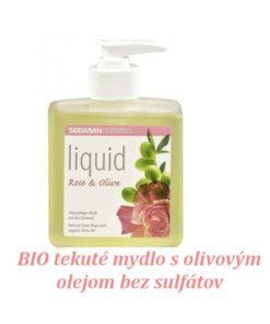 BIO tekuté mydlo Ruža oliva, vyrobené z BIO mydla, vhodné pre celú rodinu, bez farbív a sulfátov s prírodnou vôňou éterických olejov. BIO kozmetika na ruky, aj sprchovanie