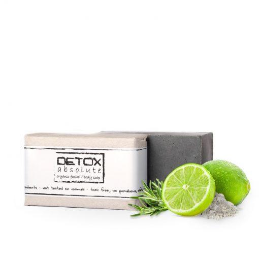 Organické mydlo DETOX absolute, detoxikácia na telo a tvár. Pokožku upokojuje, zmierňuje opuchy a začervenania a zabraňuje tvorbe akné, absorbuje nečistoty a odstraňuje maz