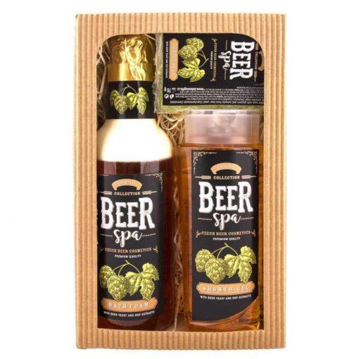 Darčeková kazeta Beer Spa - pivná kozmetika pre mužov i ženy, obsahuje extrakty z pivných kvasníc a chmeľu. Sprchový gél 250 ml, penu 500 ml, mydlo 70 g
