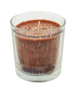 Palmová sviečka Čokoláda v skle - HAND MADE. Doba horenia 40 hodín, balené darčekovo v celofáne s lykom. Vonná esencia Čokoláda, 100% palmový vosk