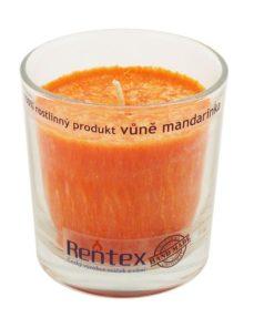 Palmová sviečka Mandarinka v skle - HAND MADE. Doba horenia 40 hodín, balené darčekovo v celofáne s lykom. Vonná esencia Mandarinka, 100% palmový vosk