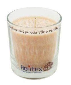 Palmová sviečka Vanilka v skle - HAND MADE. Doba horenia 40 hodín, balené darčekovo v celofáne s lykom. Vonná esencia Vanilka, 100% palmový vosk