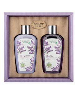 Darčeková kazeta Levanduľa Bohemia Herbs - prírodná kozmetika s extraktom z bylín a vôňou levandule. Balenie obsahuje krémový sprchový gél a jemný šampón