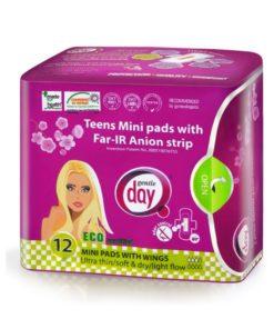 teens-mini-eko-mestruacne-vlozky-anionove - Ekologické aniónové vložky Teens MINI Gentle Day® Zvoľte si tento typ vložiek pri slabšej menštruácii, alebo ich používajte ako intímky, keď potrebujete väčšiu ochranu pri výtokoch prípadne pri ľahkej inkontinencii.
