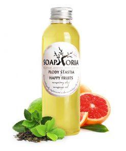 Organický masážny olej Plody šťastia s citrusmi a zeleným čajom. Bez živočíšnych tukov, ropných derivátov, glykolov, parabénov, parfumácie a farbív. VEGAN