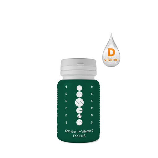 Colostrum + Vitamin D na podporu kostí a zubov, má pozitívny vplyv na vstrebávanie a využitie vápnika a fosforu z potravy