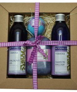 Darčeková kozmetická kazeta Verbena - svieža citrusová vôňa. Originálny darček pre ženu i muža. Obsahuje šampon, sprchový gél, mydlo a guľu do kúpeľa