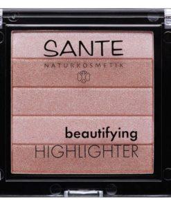 Beautifying Highlighter práškový 01 Nude - bio dekoratívna kozmetika, pre profesionálne nalíčenú, žiarivú pleť. 5 dokonalých odtieňov rozjasní tvár.