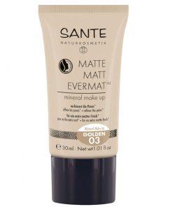 Matný make up 03 Golden - prírodný make up pre dokonalú matnú pleť. Minerálny make-up Matte Matt - prírodná dekoratívna kozmetika s mandľovým olejom