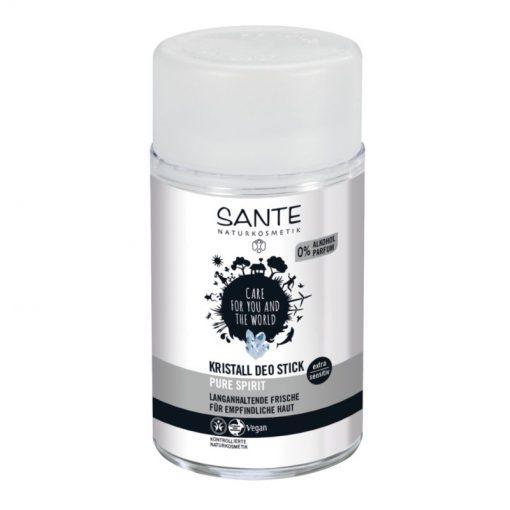 Kristall Deo Stick SANTE, prírodný deodorant bez hliníka, VEGANSKY. Bez podráždenia pokožky zabraňuje vzniku baktérií, ktoré spôsobujú zápach. Hypoalergénny