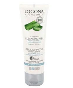BIO čistiaci gél Logona, prírodná bio kozmetika na tvár s aloe vera. Obsahuje výťažok z BIO damaskej ruže a aloe vera. Odstraňuje make-up, nečistoty a póry