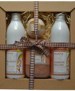 Darčeková kozmetická kazeta Mandľa - jemná vôňa pre ženy i mužov. Originálny darček pre ženu i muža. Obsahuje šampon, sprchový gél, mydlo a guľu do kúpeľa