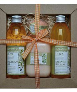 Darčeková kozmetická kazeta Oliva - jemná vôňa pre ženy i mužov. Originálny darček pre ženu i muža. Obsahuje šampon, sprchový gél, mydlo a guľu do kúpeľa