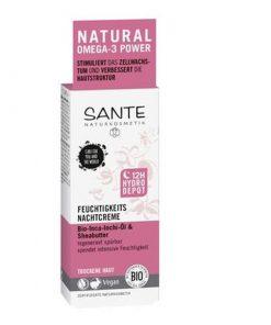 12h hydratačný BIO nočný krém SANTE - 12-hodinový hydratačný efekt! Poskytuje suchej pleti hĺbkovú a dlhotrvajúcu hydratáciu s vyhladzujúcim efektom