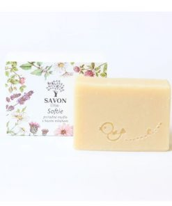 Detské prírodné mydlo s kozím mliekom Softie SAVON, mydlo bez chémie. Slovenská prírodná kozmetika na telo a tvár, vegánska kozmetika.