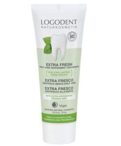 EXTRA FRESH daily care BIO zubná pasta mäta bez fluoridu. VEGANSKA zubná pasta. Jemne peniaca BIO zubná pasta účinne zabraňuje vzniku zubného kazu