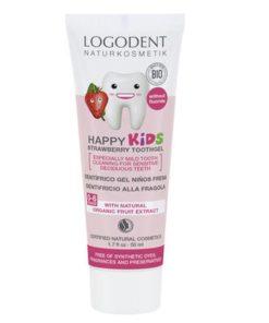 HAPPY KIDS zubný gél Jahoda, prírodné zubné pasty, pre deti, bez fluoru, Ovocná zubná pasta pre deti od 0-6 rokov. Detská zubná pasta bez chémie, bio pasta