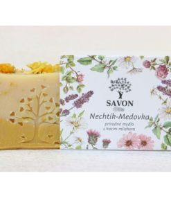 Prírodné mydlo Nechtík Medovka SAVON, mydlo bez chémie na pleť. Slovenská prírodná kozmetika na telo a tvár. Mydlo je vhodné na vredy, krčové žily, rany,