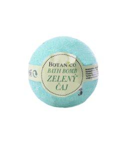 Guľa kúpeľová Zelený čaj, prírodná kozmetika na suchú pokožku. Šumivá kúpeľová guľa ponúka dokonalú starostlivosť a uvoľnenie celému telu.