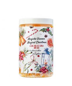 Magické Vianoce - soľná zmes do kúpeľa. Vianoce 2018. Ponorte sa do vône omamnej vanilky, pomaranča s korenistou škoricou a badiánom. Prírodná kozmetika