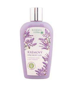 Krémový sprchový gél Levanduľa s olivovým olejom, extraktom z bylín, jogurtovou aktívnou zložkou a s vôňou levandule. Šetrne umýva pokožku bez vysušovania.