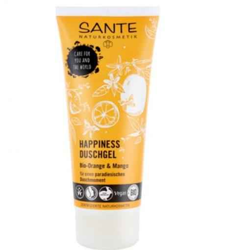 BIO sprchový gél HAPPINESS pomaranč a mango, vegánska kozmetika. Revitalizuje a navonia pokožku úžasnou sviežou citrusovou vôňou. Bio kozmetika na telo