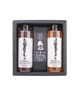 Darčeková kazeta Gentleman - originálny darček pre muža. Sprchový gél, šampón, toaletné mydlo s výťažkom z pivných kvasníc a chmeľu. Prírodná kozmetika