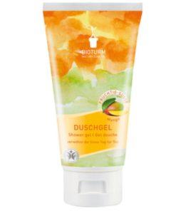 Bio sprchový gél Mango Bioturm - bio kozmetika, vegan s tropickou ovocnou vôňou manga. Pokožku hydratuje, osviežuje, nevysušuje. Netestované na zvieratách