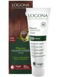 Krémová prírodná farba na vlasy vínovo červená LOGONA, BIO farba, BIO prírodná farba na vlasy, ktorá vlasy neničí, ale vyživuje, farbí a chráni.