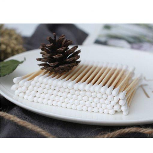 Bambusové vatové tyčinky 100 kusové. ZERO WASTE. Tyčinky sú z bambusu a bio bavlny, úplne rozložiteľné a nezaťažujú životné prostredie